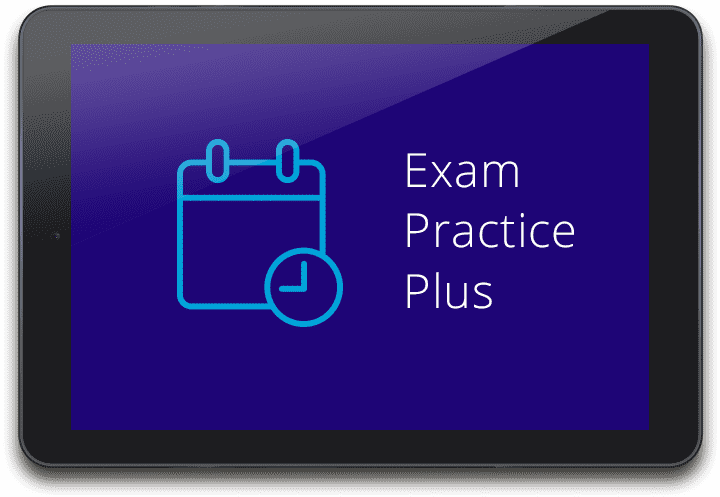 Tablet device with Exam Practice Plus graphic displayed